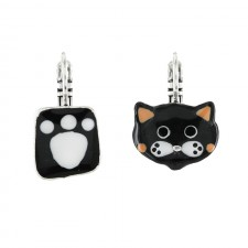 Taratata Taraboum Earrings(Black Cat Non Identical)